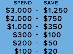 Fairfield Buy More Save More Savings Chart