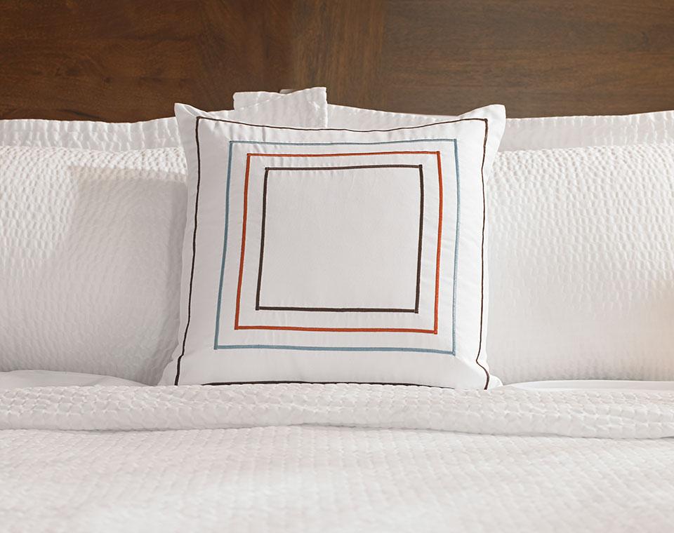 Fairfield Hotel Orange Blue Frames Throw Pillow