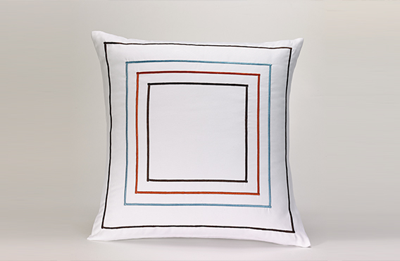 Orange & Blue Frames Throw Pillow - Fairfield Hotel Store
