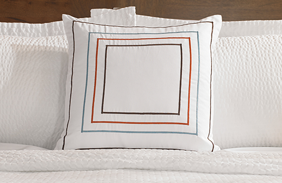 Orange & Blue Frames Throw Pillow